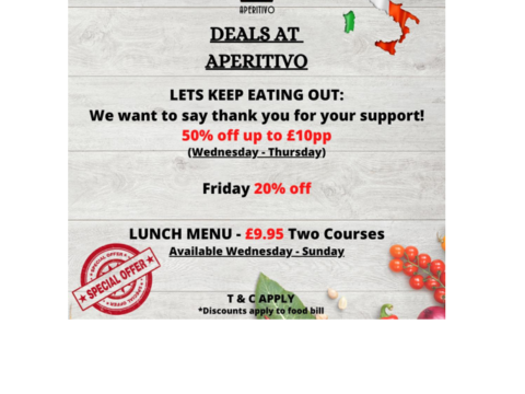 Italian restaurant special offer October deal 2020 eat out to help out